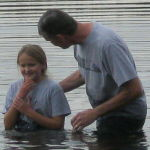 girl being baptized